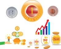 Сохраньте деньги и сохраняя монетку доллара Стоковые Изображения