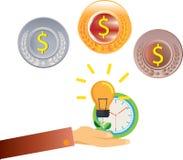 Сохраньте деньги и сохраняя монетку доллара Стоковое Изображение RF