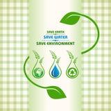 Сохраньте землю, воду и концепцию окружающей среды иллюстрация вектора