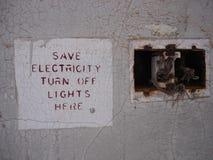 Сохраньте знак электричества стоковое изображение