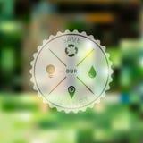 Сохраньте значок планеты с предпосылкой экологичности Blured Стоковые Фото