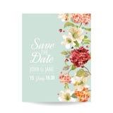 Сохраньте карточку даты с цветками Hortensia осени винтажными для Wedding, приглашение, партия Стоковые Изображения RF