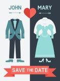 Сохраньте карточку даты с костюмом платья и groom невесты иллюстрация вектора