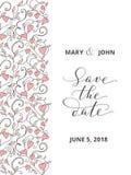 Сохраньте карточку даты с предпосылкой картины сердец, шаблоном приглашения Каллиграфия написанная рукой изготовленная на заказ Стоковые Изображения RF