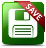 Сохраньте кнопку квадрата зеленого цвета значка гибкого магнитного диска Стоковые Изображения