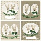Комплект карточки венчания портретов кролика Стоковые Фотографии RF