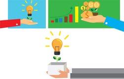 Сохраньте концепцию денег для crowdfunding, рука с коробкой Стоковые Изображения RF