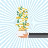 Сохраньте концепцию денег для crowdfunding, рука с коробкой Стоковое Фото