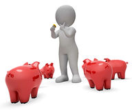Сохраньте копилку середин сбережений и перевод валюты 3d Стоковая Фотография RF