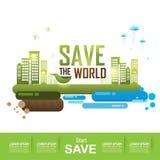 Сохраньте мир, концепцию экологичности пойдите зеленый цвет Стоковые Изображения