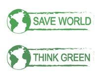 Сохраньте мир, подумайте зеленый знак вектора с планетой Стоковое Изображение