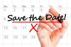 Сохраньте отмеченную дату на календаре Стоковая Фотография RF