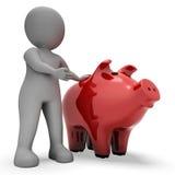 Сохраньте сбережения показывает копилку и перевод богатства 3d Стоковое Изображение