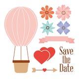 Сохраньте цветки и стрелку сердец корзины аэростата даты Стоковые Фотографии RF