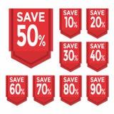 Сохраньте ценник стикера процентов Стоковая Фотография RF