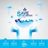 Сохраньте экологичность концепции вектора воды Стоковые Фотографии RF