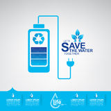 Сохраньте экологичность концепции вектора воды Стоковые Изображения