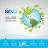 Сохраньте экологичность концепции вектора воды Стоковое Изображение RF