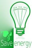 Сохраньте энергию с зеленым светом Стоковая Фотография