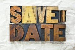 Сохраньте Letterpress даты Стоковые Фото