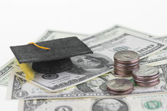 Сохранять каждые одиночные доллар и цент для высшего образования Стоковые Фотографии RF