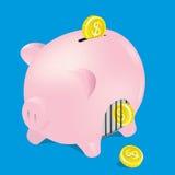 Сохранять Piggy с монеткой, вектор, иллюстратор Стоковая Фотография RF