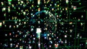 Социальная жадность соединения людей сети Большая концепция данных, поток людей соединяется в Интернете, 3d представляя rnodes бесплатная иллюстрация