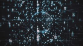 Социальная жадность соединения людей сети Большая концепция данных, поток людей соединяется в Интернете, 3d представляя rnodes иллюстрация вектора
