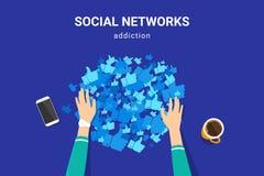 Социальная наркомания средств массовой информации для того чтобы собрать много подобий от общественных профилей иллюстрация штока