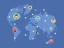Социальная сеть, люди соединяясь во всем мире Иллюстрация вектора плоская Стоковое Изображение RF