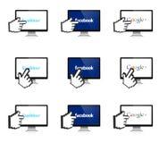 Социальная сеть на дисплее с рукой 3D Стоковые Фото