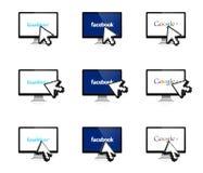 Социальная сеть на дисплее с стрелкой 3D Стоковые Изображения