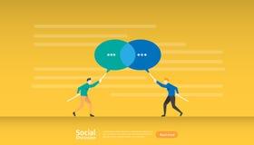 социальная сеть разговора средств массовой информации Характер людей связи пузырей диалога болтовни беседовать общины онлайн ново иллюстрация штока