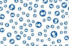 Социальная синь сети как значки для видео-чата в реальном маштабе времени потока любит шаблон дизайна E бесплатная иллюстрация