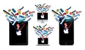 Социальная технология на Apple Стоковые Изображения RF