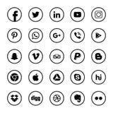 Социальная чернота значков средств массовой информации иллюстрация вектора