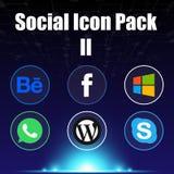 Социальное изображение вектора предпосылки сини пакета 2 значка Стоковое Изображение RF