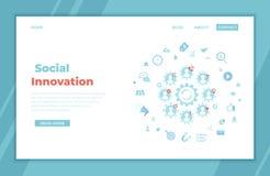 Социальное нововведение Технология стратегии идеи Новые изменения, ommunications ¡ Ð, сыгранность, работа совместно элементы info иллюстрация штока