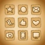 Социальной установленные иконы нарисованные рукой Стоковое Фото