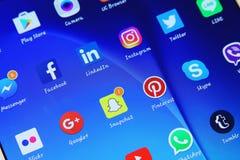 Социальные значки применений сетей средств массовой информации стоковое изображение