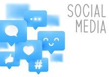 Социальные значки средств массовой информации на белизне иллюстрация вектора