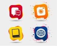Социальные значки средств массовой информации Пузырь и глобус речи болтовни Стоковое Изображение RF