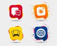 Социальные значки средств массовой информации Пузырь и глобус речи болтовни Стоковая Фотография RF
