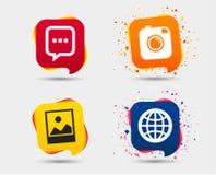 Социальные значки средств массовой информации Пузырь и глобус речи болтовни Стоковое фото RF