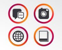 Социальные значки средств массовой информации Пузырь и глобус речи болтовни Стоковые Изображения RF