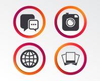 Социальные значки средств массовой информации Пузырь и глобус речи болтовни Стоковые Фото