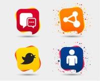 Социальные значки средств массовой информации Пузырь и доля речи болтовни Стоковое фото RF
