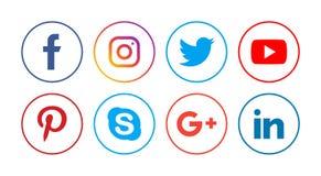 Социальные значки средств массовой информации иллюстрация штока