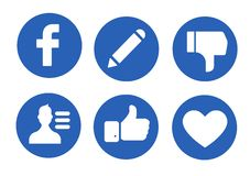 Социальные значки средств массовой информации иллюстрация вектора