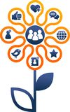 Социальные средства и иллюстрация сети стоковое изображение